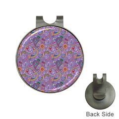 Purple Paisley Hat Clip With Golf Ball Marker by StuffOrSomething