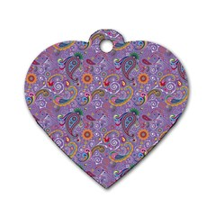 Purple Paisley Dog Tag Heart (two Sided) by StuffOrSomething