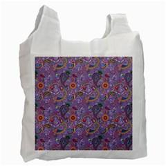 Purple Paisley White Reusable Bag (two Sides)