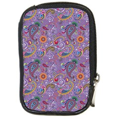 Purple Paisley Compact Camera Leather Case by StuffOrSomething