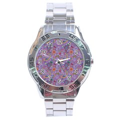 Purple Paisley Stainless Steel Watch by StuffOrSomething