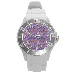 Purple Paisley Plastic Sport Watch (large) by StuffOrSomething