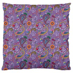 Purple Paisley Large Cushion Case (two Sided)  by StuffOrSomething