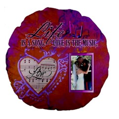 18  Love Song Cushion, #4 By Joy Johns   Large 18  Premium Round Cushion    O3md4rykkkrg   Www Artscow Com Front
