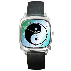 Ying Yang  Square Leather Watch by Siebenhuehner
