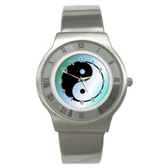 Ying Yang  Stainless Steel Watch (slim) by Siebenhuehner