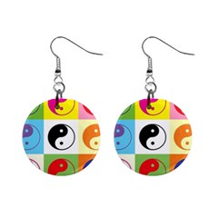 Ying Yang   Mini Button Earrings by Siebenhuehner