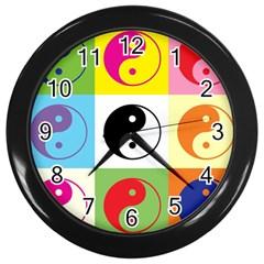 Ying Yang   Wall Clock (black) by Siebenhuehner