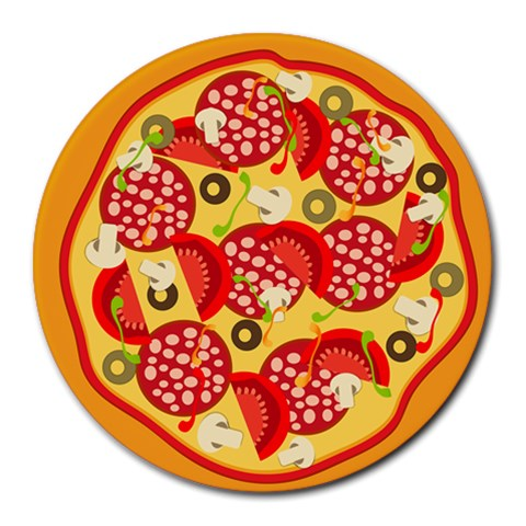 Pizza By Divad Brown   Round Mousepad   N4yaripzbccm   Www Artscow Com Front