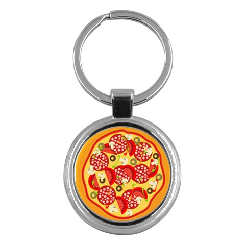 Pizza By Divad Brown   Key Chain (round)   L246svhiyzdj   Www Artscow Com Front