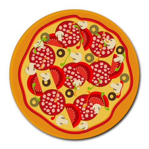 Pizza By Divad Brown   Collage Round Mousepad   Fh8gcnoyq8tm   Www Artscow Com 8 x8 Round Mousepad - 1