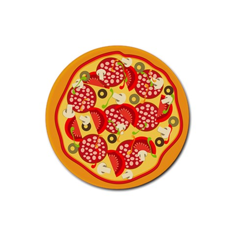 Pizza By Divad Brown   Rubber Coaster (round)   Hcrlgmijxq4v   Www Artscow Com Front