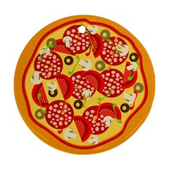 Pizza By Divad Brown   Round Ornament (two Sides)   Eii3sm7etnn8   Www Artscow Com Front