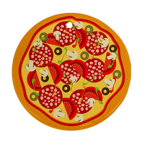 Pizza By Divad Brown   Ornament (round)   Uvloiegt0olu   Www Artscow Com Front