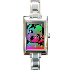 Dog Rectangular Italian Charm Watch