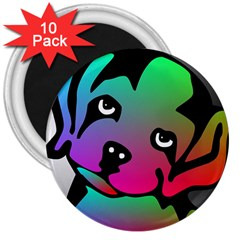 Dog 3  Button Magnet (10 Pack)