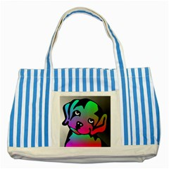 Dog Blue Striped Tote Bag by Siebenhuehner