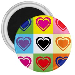 Hearts 3  Button Magnet by Siebenhuehner