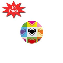 Hearts 1  Mini Button Magnet (10 Pack) by Siebenhuehner