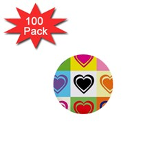 Hearts 1  Mini Button (100 Pack) by Siebenhuehner