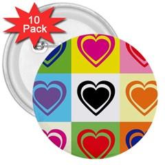 Hearts 3  Button (10 Pack) by Siebenhuehner