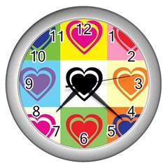 Hearts Wall Clock (silver) by Siebenhuehner