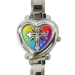 Cross Heart Italian Charm Watch  by Siebenhuehner