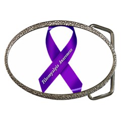 Fibro Awareness Ribbon Belt Buckle (oval)