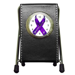 Fibro Awareness Ribbon Stationery Holder Clock by FunWithFibro