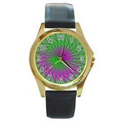 Pattern Round Leather Watch (gold Rim)  by Siebenhuehner