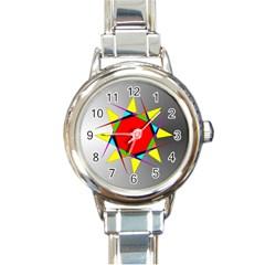 Star Round Italian Charm Watch by Siebenhuehner