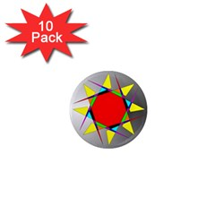 Star 1  Mini Button Magnet (10 Pack) by Siebenhuehner