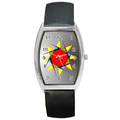Star Tonneau Leather Watch by Siebenhuehner