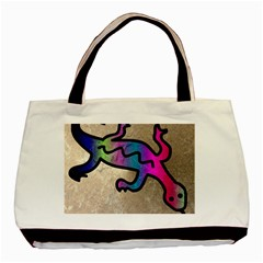 Lizard Twin Sided Black Tote Bag by Siebenhuehner