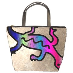 Lizard Bucket Handbag by Siebenhuehner