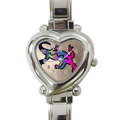 Lizard Heart Italian Charm Watch  by Siebenhuehner