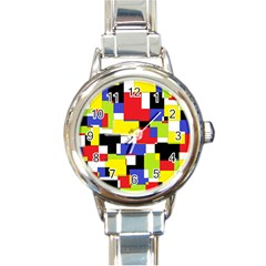 Mod Geometric Round Italian Charm Watch by StuffOrSomething