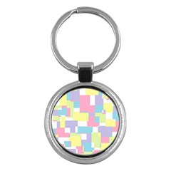 Mod Pastel Geometric Key Chain (round) by StuffOrSomething