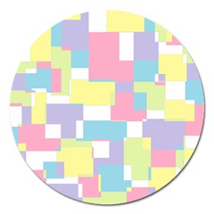 Mod Pastel Geometric Magnet 5  (round) by StuffOrSomething