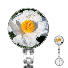 White Poppy Blossom Stainless Steel Nurses Watch by stineshop