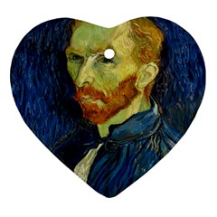 Vincent Van Gogh Self Portrait With Palette Heart Ornament by MasterpiecesOfArt