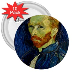 Vincent Van Gogh Self Portrait With Palette 3  Button (10 Pack) by MasterpiecesOfArt
