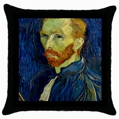 Vincent Van Gogh Self Portrait With Palette Black Throw Pillow Case by MasterpiecesOfArt