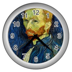 Vincent Van Gogh Self Portrait With Palette Wall Clock (silver) by MasterpiecesOfArt