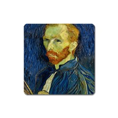 Vincent Van Gogh Self Portrait With Palette Magnet (square) by MasterpiecesOfArt