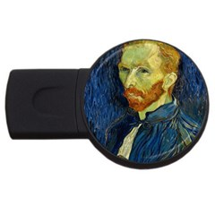 Vincent Van Gogh Self Portrait With Palette 2gb Usb Flash Drive (round) by MasterpiecesOfArt