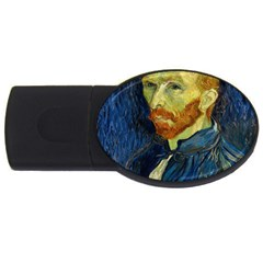 Vincent Van Gogh Self Portrait With Palette 4gb Usb Flash Drive (oval) by MasterpiecesOfArt