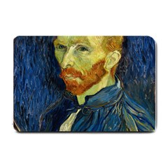 Vincent Van Gogh Self Portrait With Palette Small Door Mat by MasterpiecesOfArt