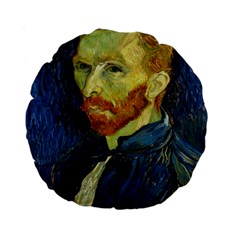 Vincent Van Gogh Self Portrait With Palette 15  Premium Round Cushion  by MasterpiecesOfArt