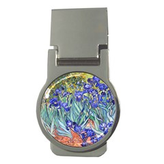 Vincent Van Gogh Irises Money Clip (round) by MasterpiecesOfArt